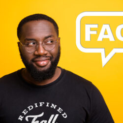 "Man wearing a Uth Stuph shirt against a yellow background with a text box that says ""FAQ"""