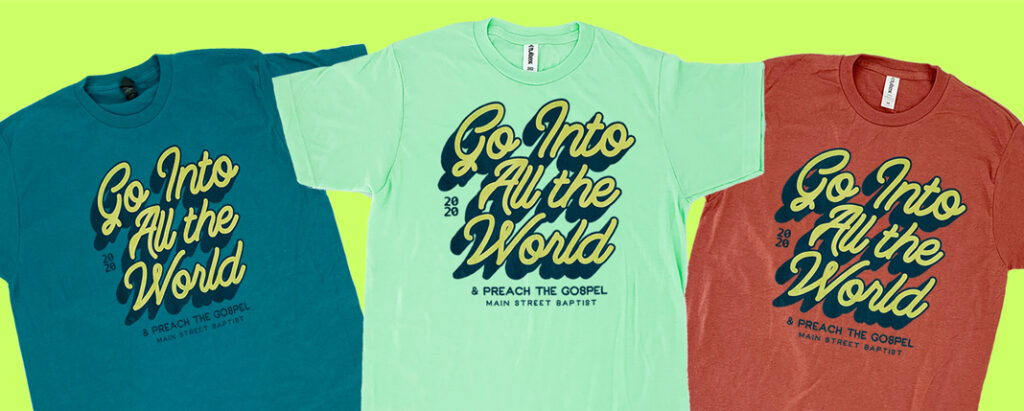 Super Soft Custom Tees on Tultex 202 Teal, Neo-Mint & Terracotta